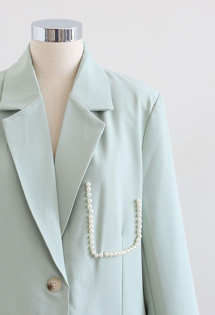 Pearly Pocket Pad Shoulder Blazer in Mint