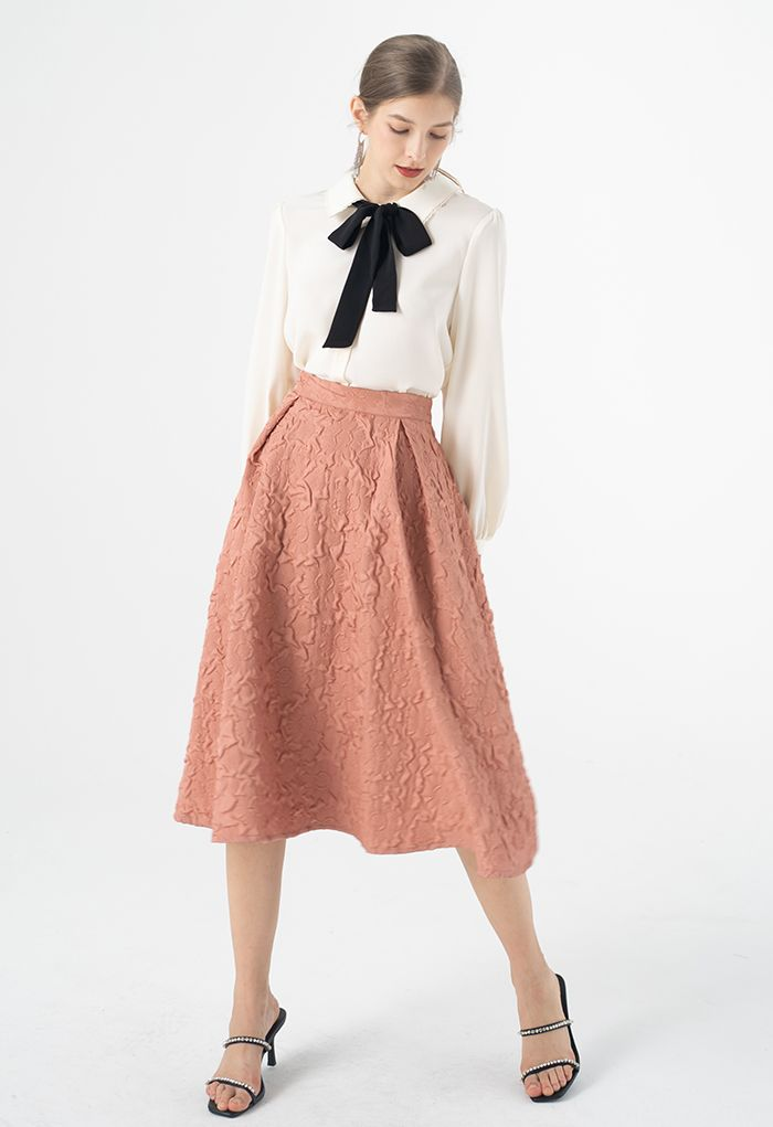 Sunflower Embossed Pleated Midi Skirt in Coral