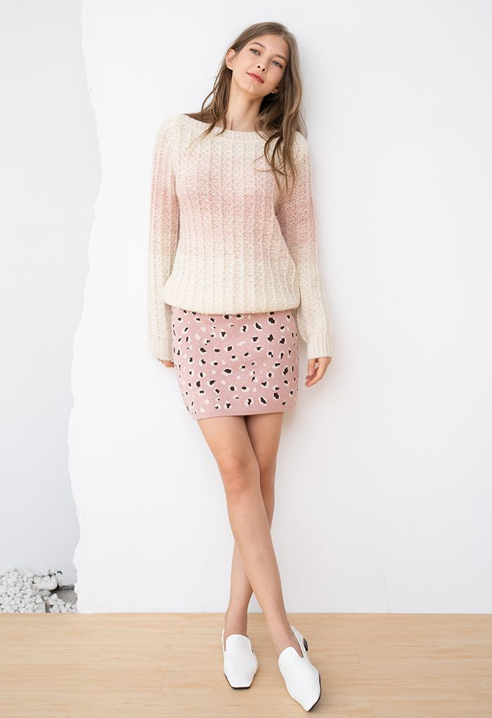 Ombre Knit Boat Neck Sweater