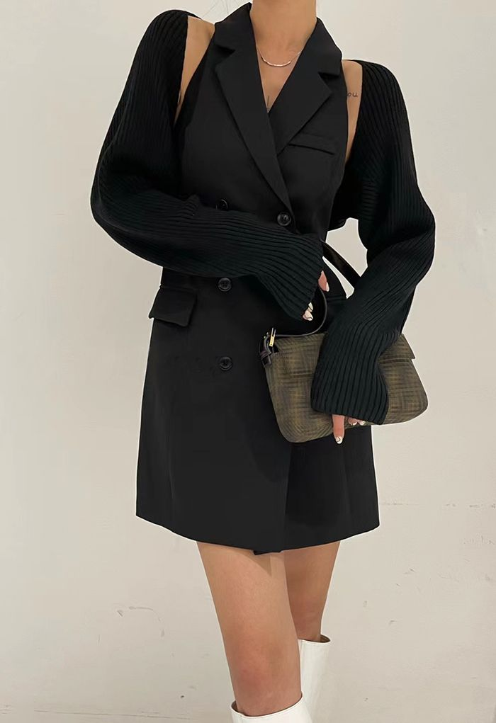 Double-Breasted Blazer Dress with Sweater Sleeve in Black