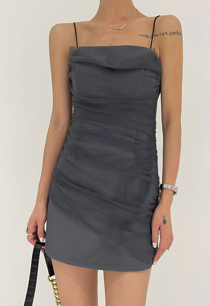 Mesh Ruched Front Cami Mini Dress in Grey