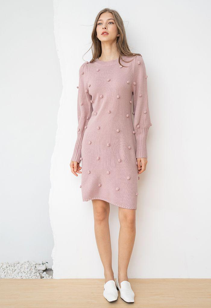 Puff Sleeve Pom-Pom Sweater Dress in Pink