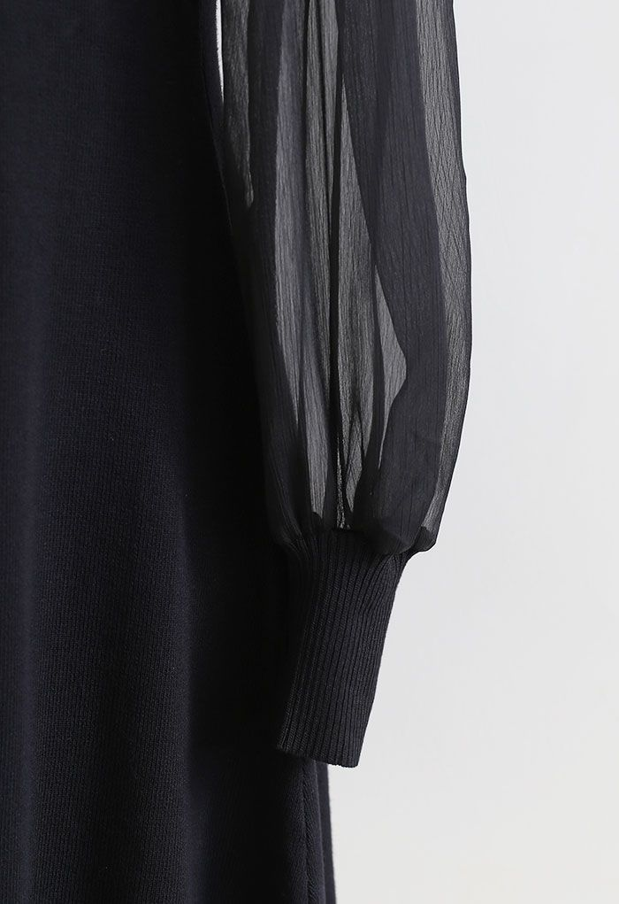 Pearly Bowknot Organza Sleeve Knit Dress in Black