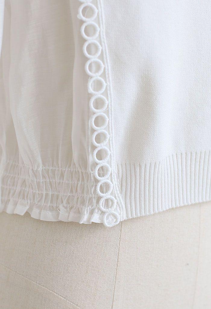 Spliced Sheer-Sleeve Crop Knit Top in White
