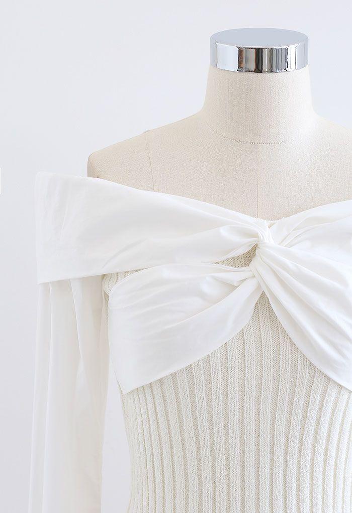 Twist Front Spliced Crop Rib Knit Top in White