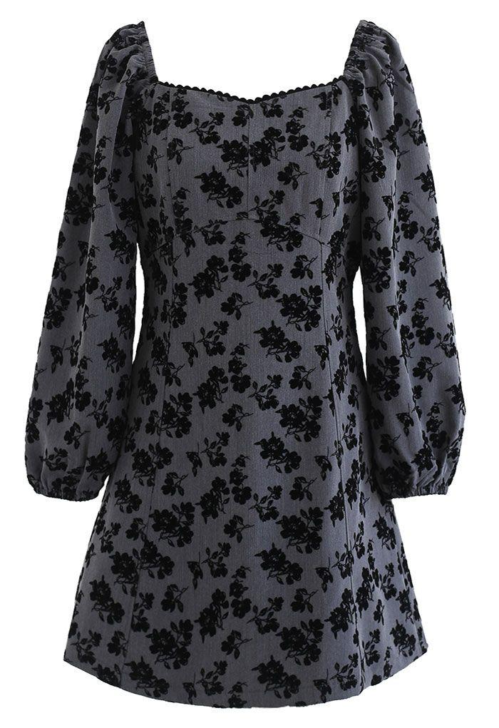 Posy Print Sweetheart Neck Mini Dress in Grey