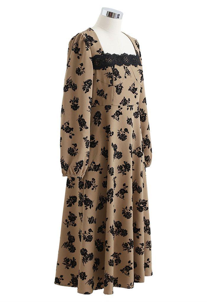 Posy Print Lacey Square Neck Midi Dress in Khaki
