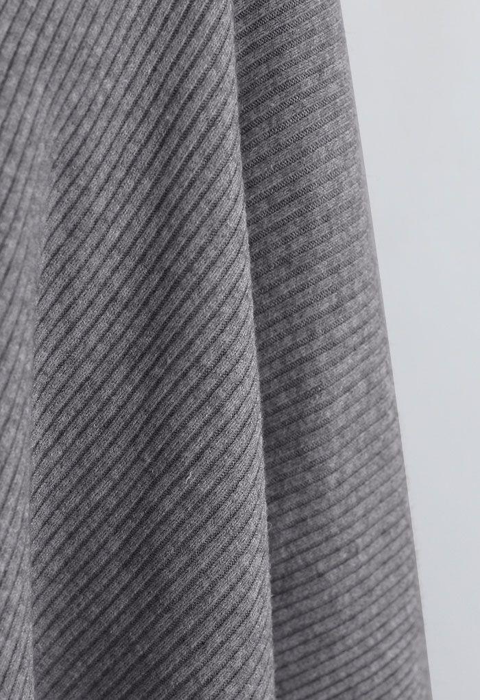 Buttoned Rib Knit Poncho Cape in Grey