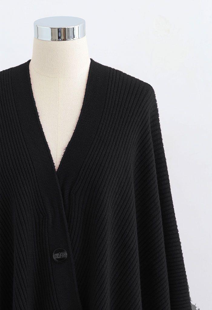 Buttoned Rib Knit Poncho Cape in Black