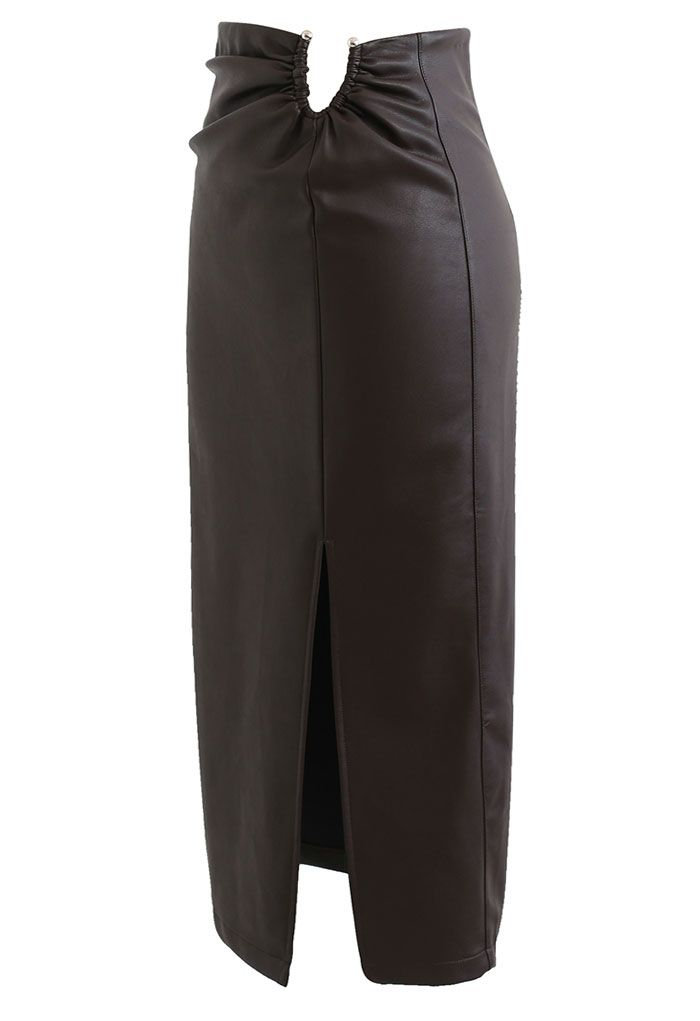 U-Shape Cutout Slit Faux Leather Midi Skirt in Brown