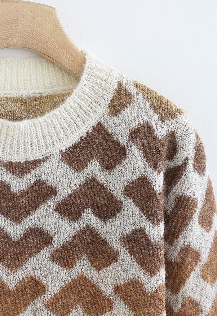 Caramel Gradient Hearts Knit Sweater