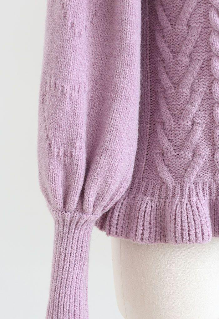 Still My Heart Bubble Sleeves Ruffle Hem Knit Sweater in Lilac