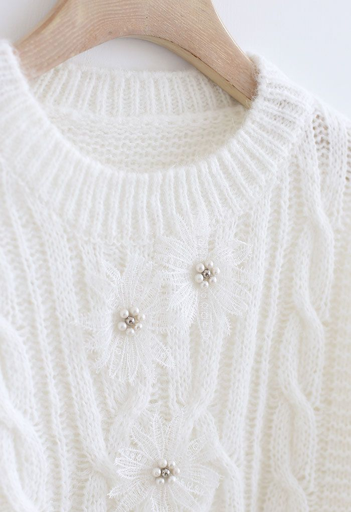 Crochet Flowers Decorated Ruffle Cable Knit Sweater in White