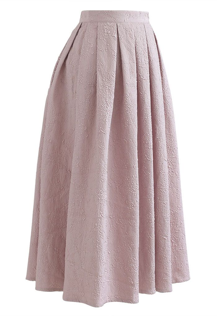 Carnation Embossed Satin Pleated Midi Skirt in Dusty Pink