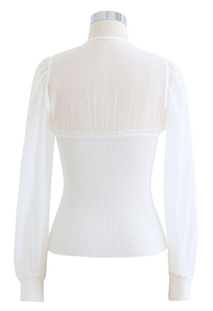 Spliced Bubble Sleeve Knit Top in White