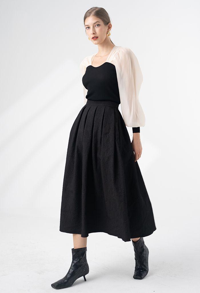 Spliced Bubble Sleeve Knit Top in Black