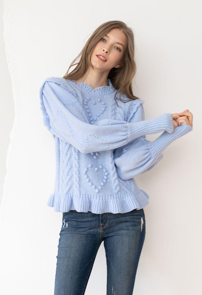 Still My Heart Bubble Sleeves Ruffle Hem Knit Sweater in Blue