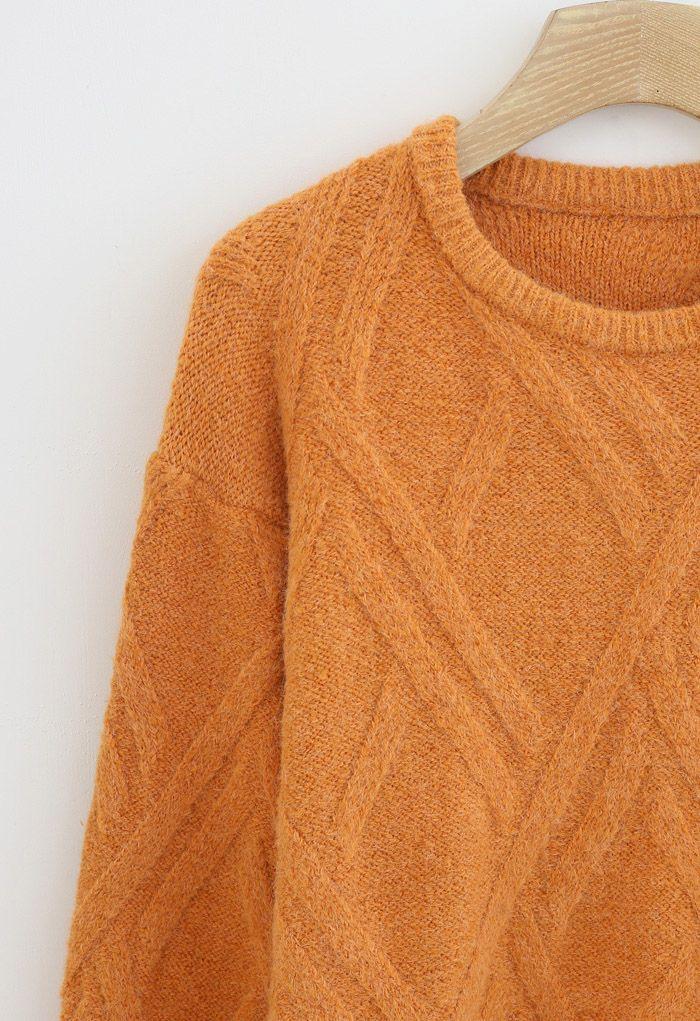 Crisscross Pattern Fuzzy Knit Sweater in Orange