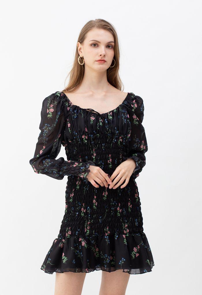 Bouquet Shirred Ruffle Mini Dress in Black