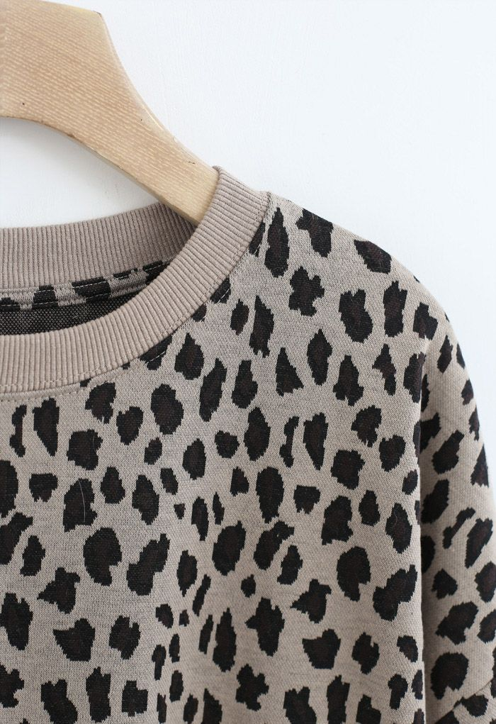 Leopard Print Round Neck Sweatshirt in Tan
