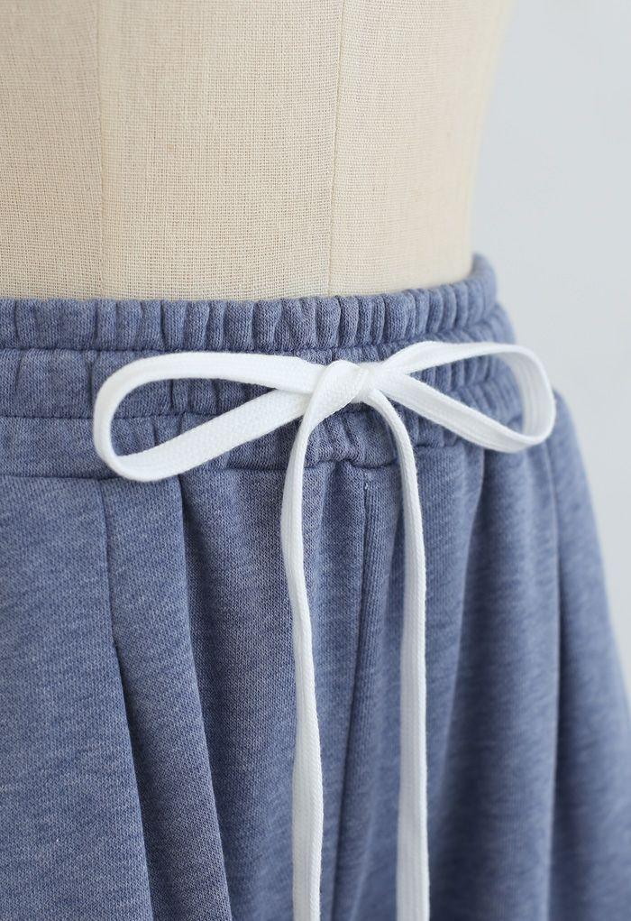 Cropped Wide-Leg Raw Cut Drawstring Pants in Blue