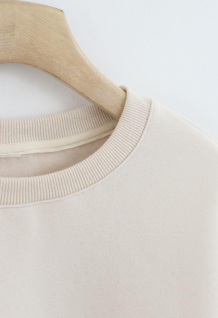 Amore Printed Fleece Sweatshirt in Cream