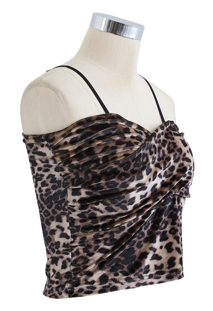 Cross Wrap Fitted Cami Top in Leopard