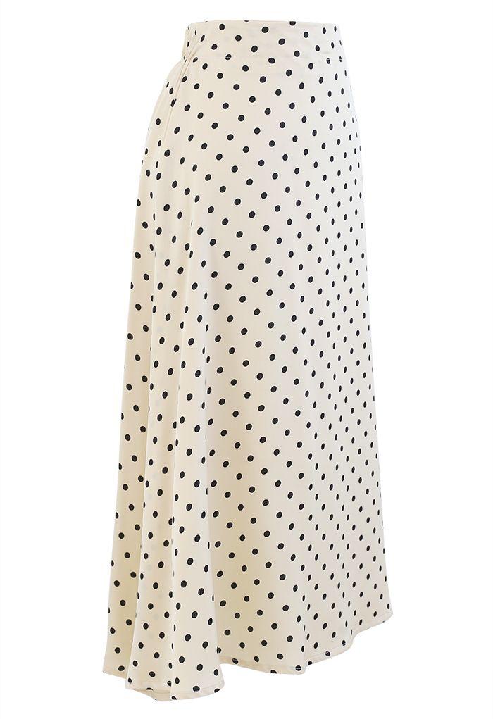 Polka Dots Midi Slip Skirt in Cream