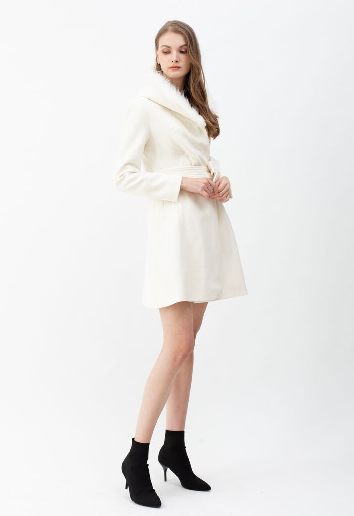 Faux Fur Hooded Wool-Blend Flare Coat in White