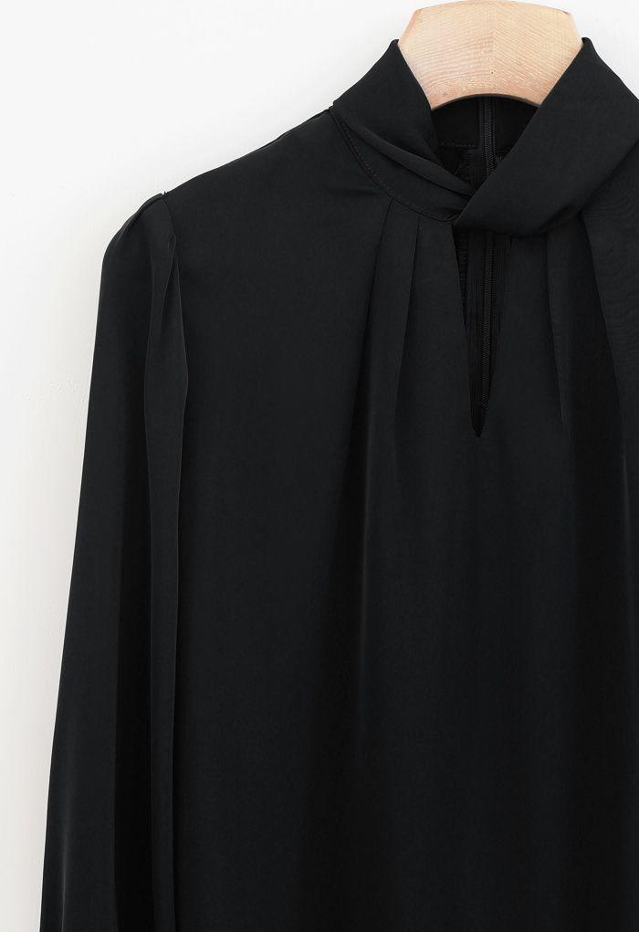 Twist Cutout Neck Satin Top in Black