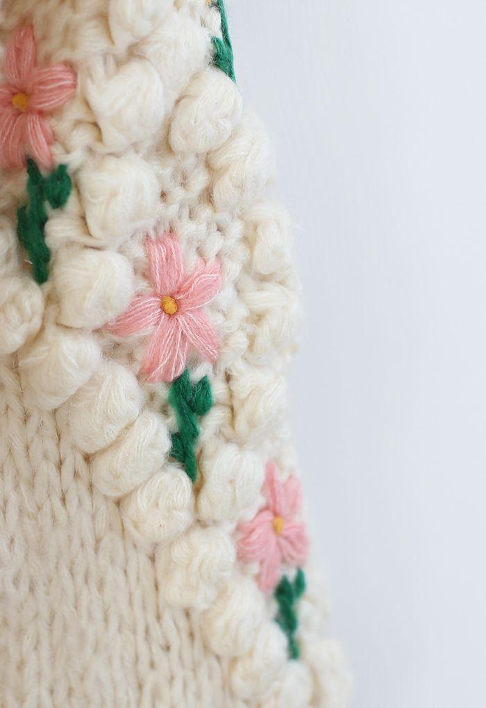 Stitch Floral Diamond Pom-Pom Hand Knit Cardigan