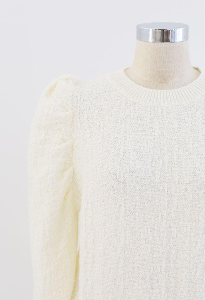 Puff-Shoulder Texture Knit Sweater in Cream