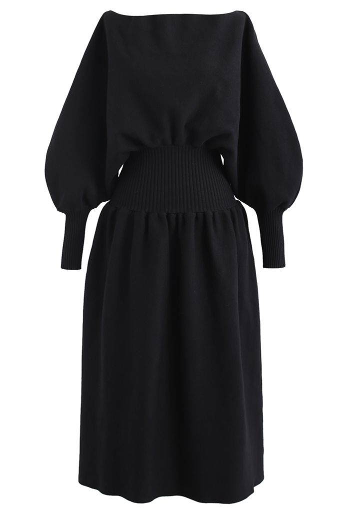 Off-Shoulder Dolman Sleeves Knit Dress in Black