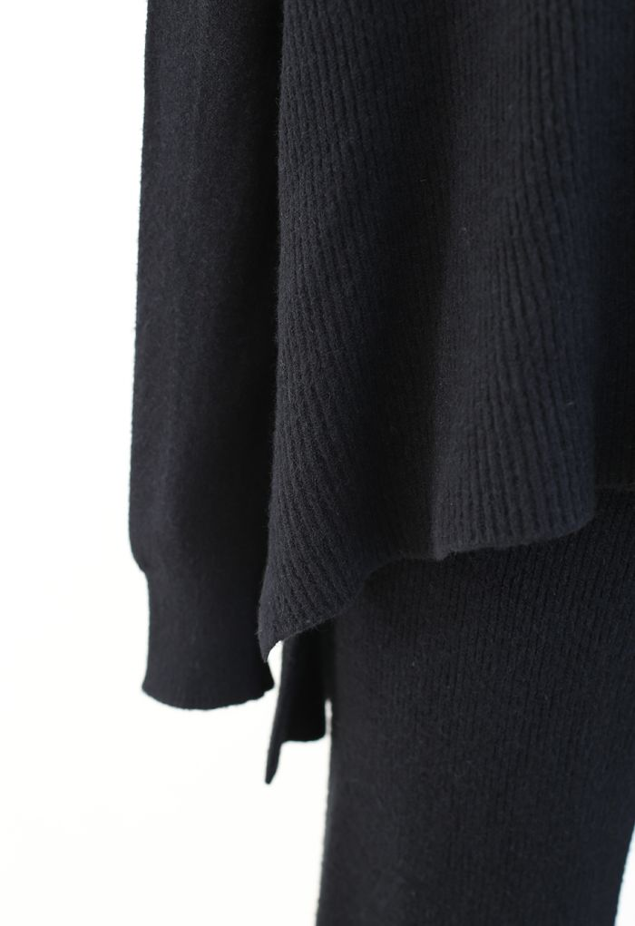 3 Packs Soft Touch Knit Top and Pants Set in Black