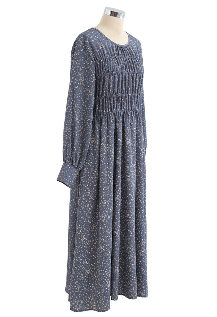 Bouquet Floret Shirred Chiffon Dress in Dusty Blue