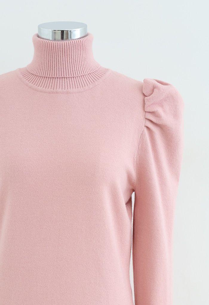 Bubble Shoulder Turtleneck Sweater Dress in Pink