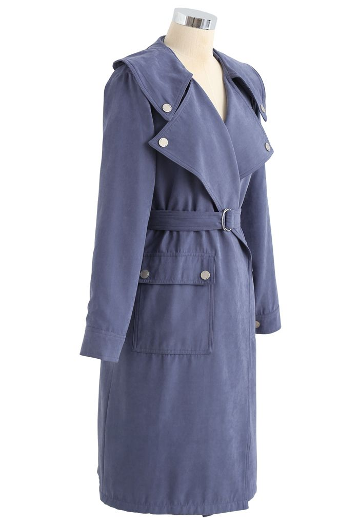 Suede Pocket Belted Trench Coat in Blue