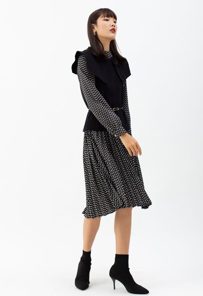 Belted Knit Vest and Pleated Chiffon Twinset Dress