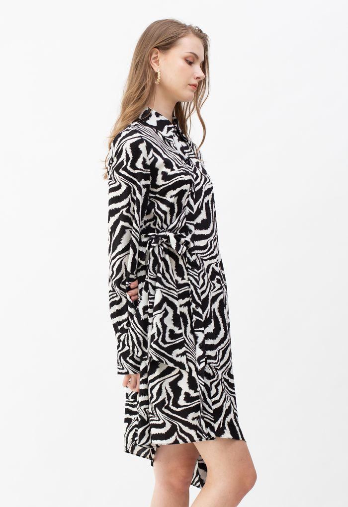 Zebra Print Knot Side Asymmetric Shirt Dress