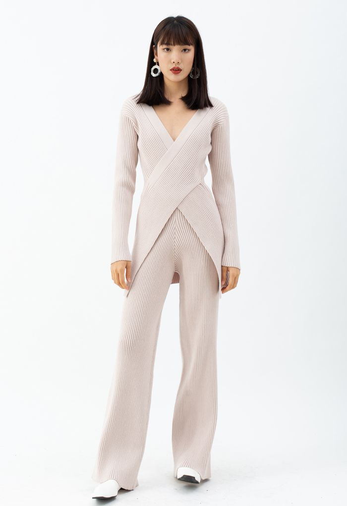 Cross Wrap Rib Knit Longline Sweater and Pants Set in Pink