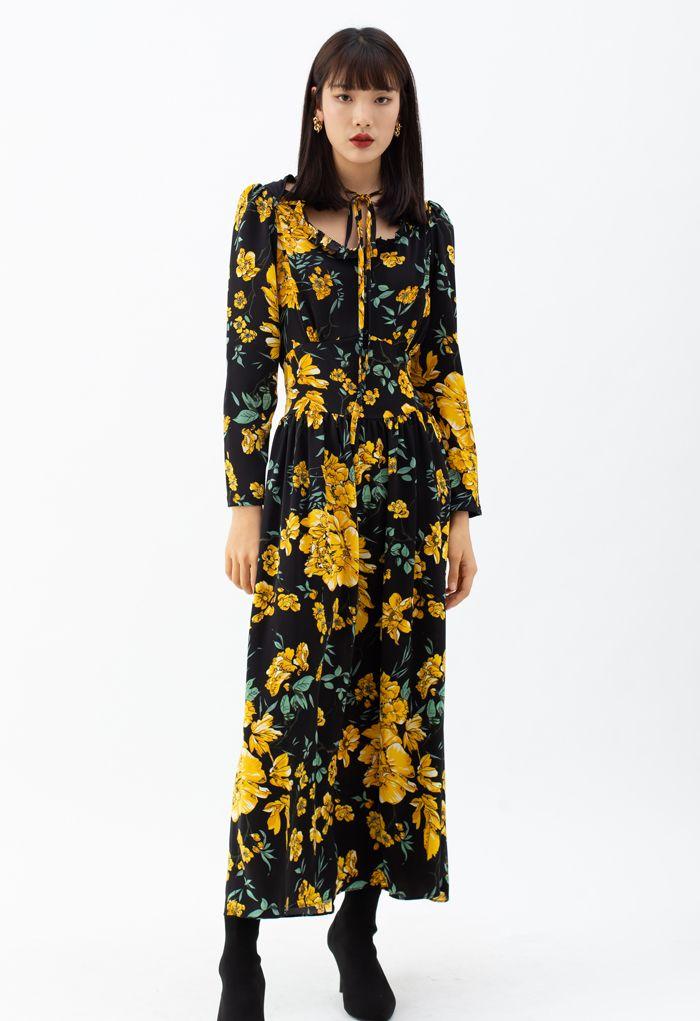 Floral Print Cutout Tied Neck Maxi Dress