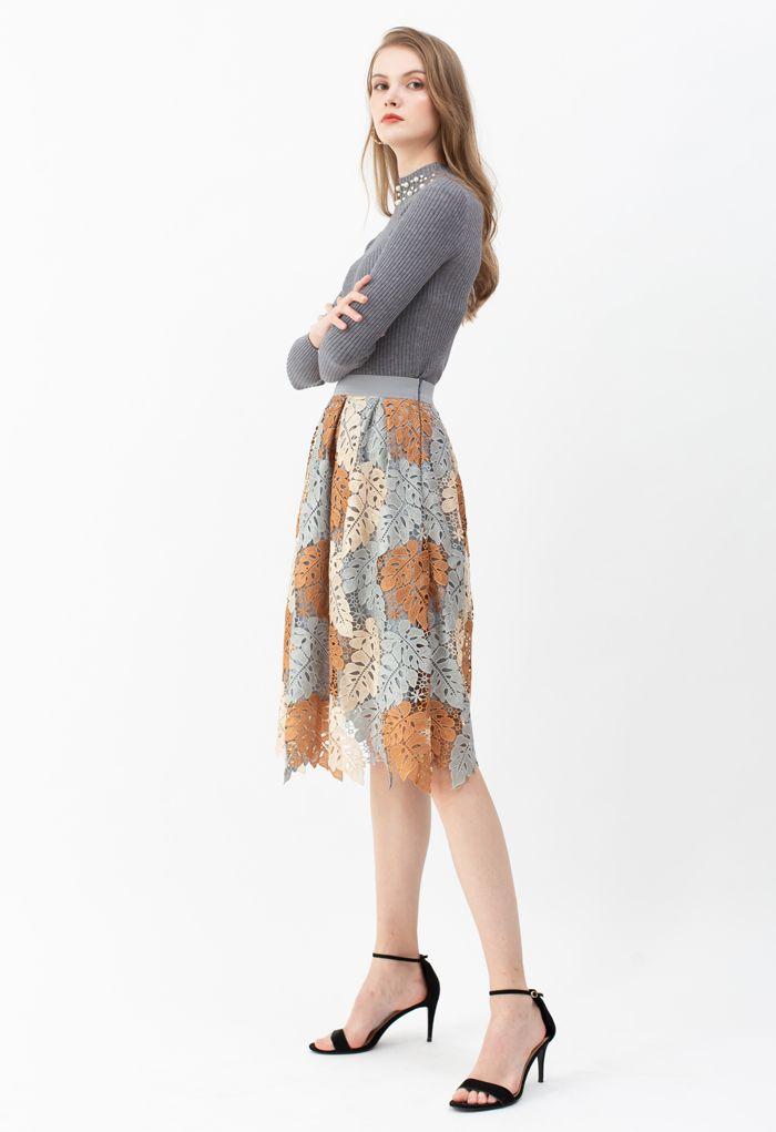 Multi-Color Leaves Crochet Pleated Midi Skirt