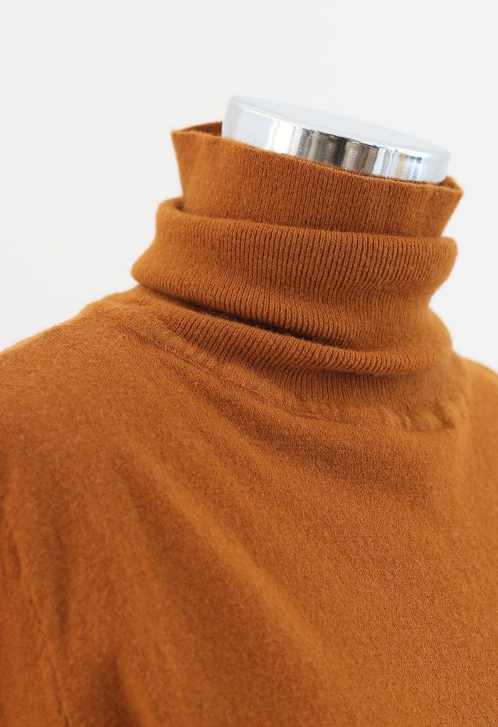 Turtleneck Soft Touch Ribbed Knit Sweater in Pumpkin