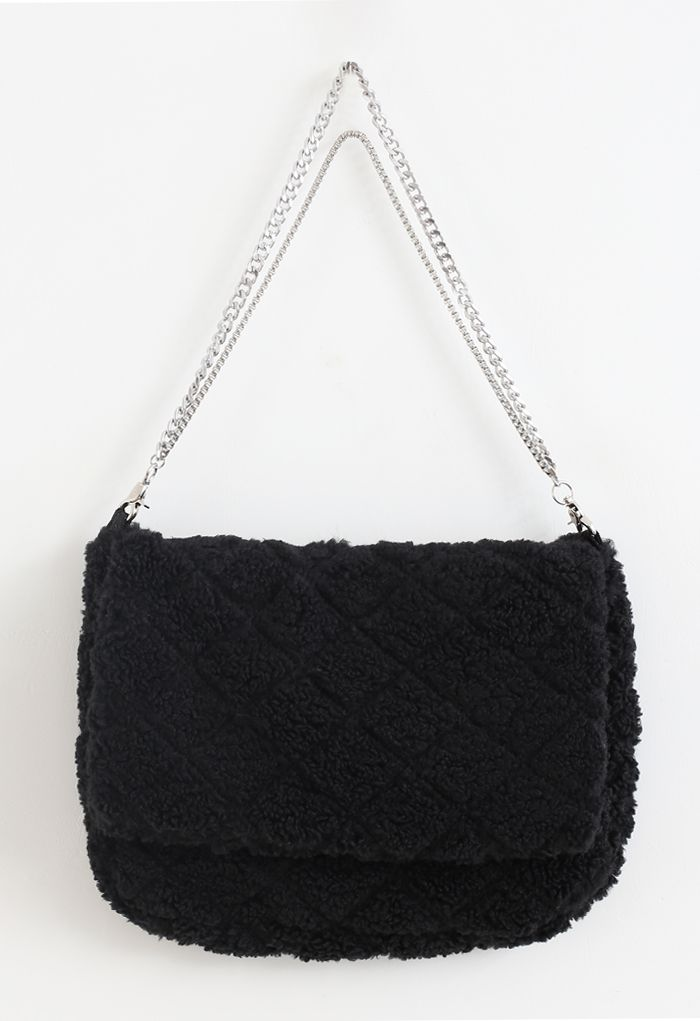 Diamond Faux Fur Coat with Flap Bag in Black