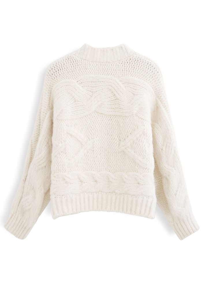 Cable Knit Chunky Buttoned Cardigan in Ivory