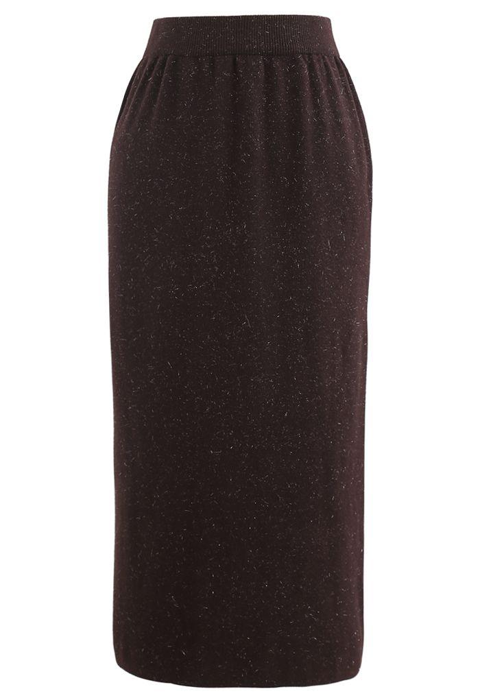 Metallic Thread Slit Back Rib Knit Skirt in Brown