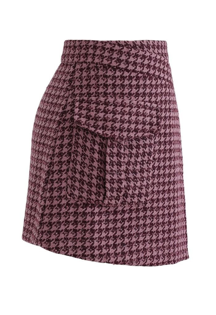 Houndstooth Tweed Asymmetric Mini Skirt in Hot Pink