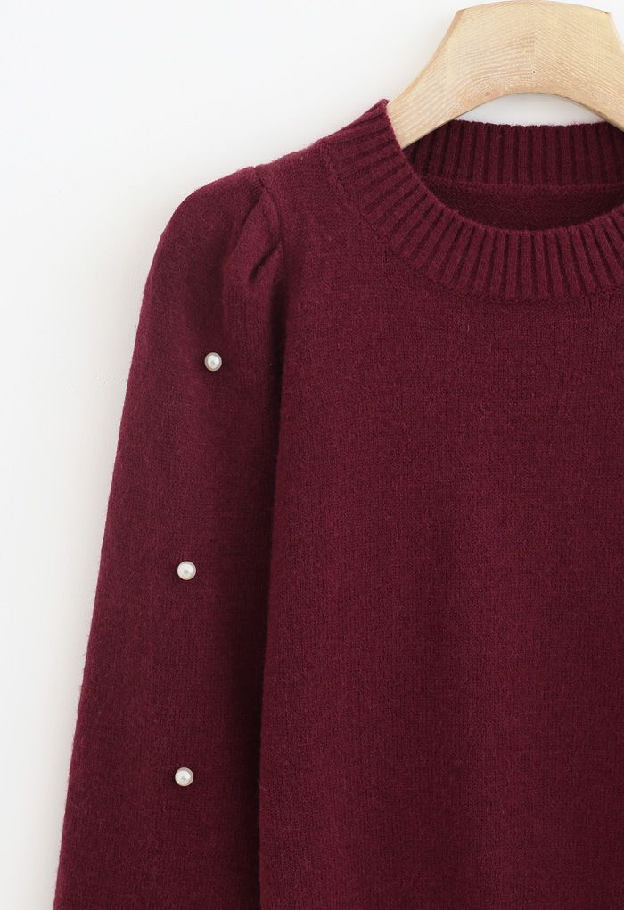 Pearl Trim Sleeves Ribbed Knit Sweater in Wine