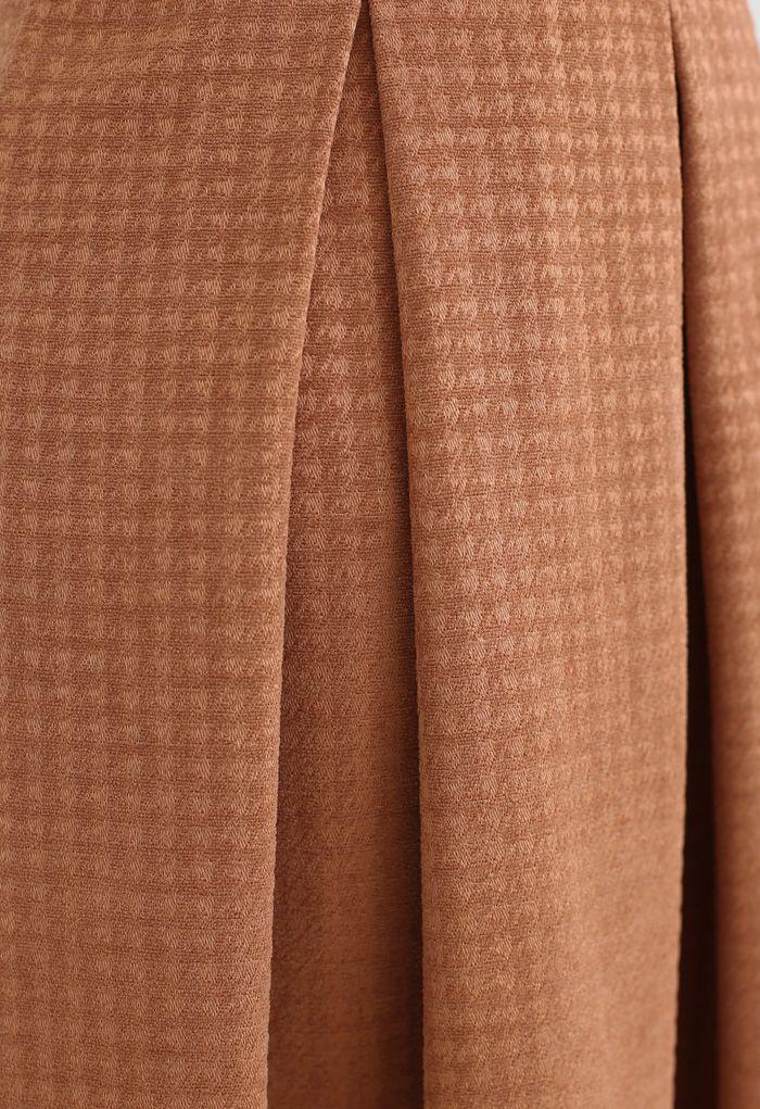 Box Pleated Houndstooth Midi Skirt in Orange