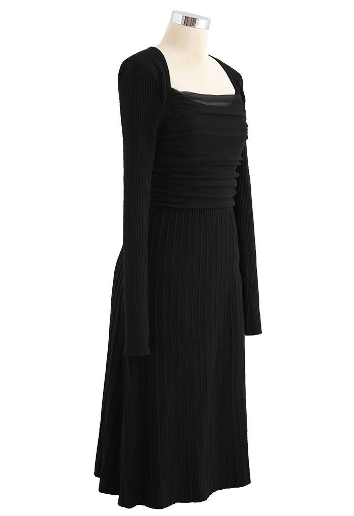 Mesh Overlay Square Neck Rib Knit Dress in Black